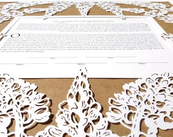 Lupine Flowers papercut ketubah | wedding vows | anniversary gift | handmade