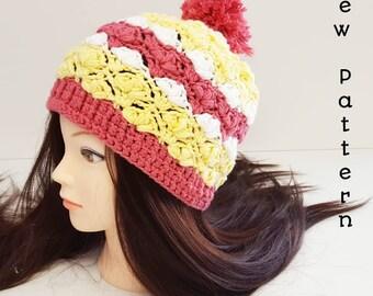 Crochet Winter Hat Pattern, Petal Stitch- Adult size, crochet adult hat pattern, crochet pom pom hat pattern