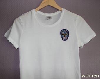 T-Shirt with Dia de los muertos Skull Patch black/white Men/Women