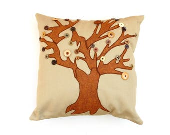 Appliqued tree button leaves Fall pillow, brown rust, farm style Autumn home decor, decorative throw
