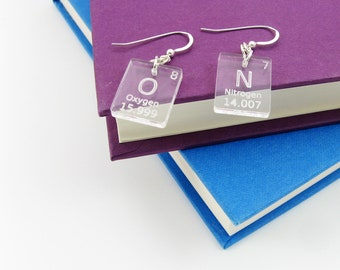 Periodic Table Earrings - Science Jewelry With Atomic Elements (Oxygen and Nitrogen) - Geek Gift