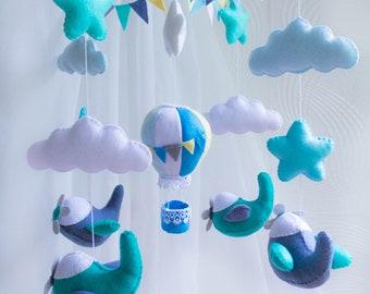 Airplane mobile Baby crib mobile Airplane-baby mobile-nursery mobile-baby kit mobile-felt kit-felt Airplane-felt-baby bedding made from felt