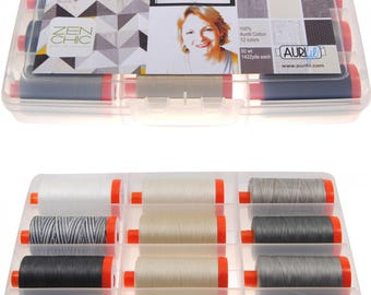 Aurifil Thread 50 wt Cotton 12 Spools - Paper & Ink by Zen Chic