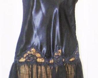 70s Cline Star Nightgown Sheer Skirt Black Unworn Medium