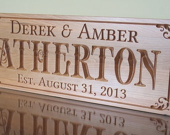 Personalized Last Name Wood Sign, Personalized Sign, Wooden Family Name Sign, Wood Established Sign, Benchmark Custom Signs, Cherry BN