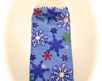 Blue Snowflake Hand Towel With White Crocheted Top