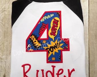 Superhero birthday shirt, super power birthday shirt, zap, pow, bam, superhero party, raglan,
