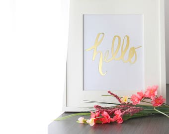 Hello Brush lettering physical goldfoil print, hello painting, gold handlettering brush calligraphy art print