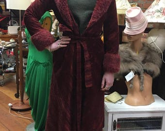 Long Red Corduroy Coat