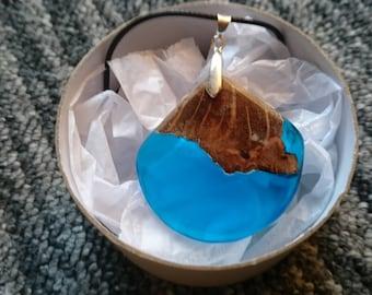 burl oak and blue resin infused pendant