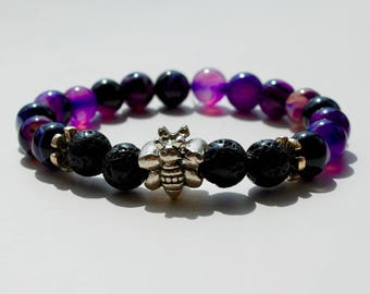 Silver Plated Butterfly Charm on Semi-Precious Purple-Striped Agate Diffuser Bracelet with Lava Stones