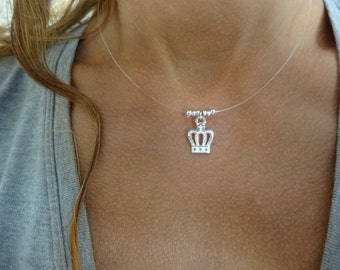 In style queens crown. Sterling silver floater necklace.