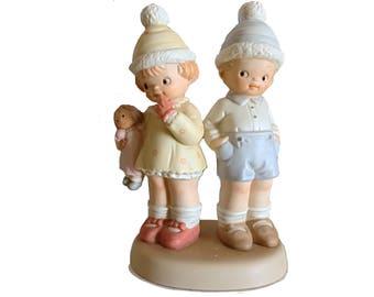 Enesco, Too Shy For Words Figurine, Vintage Enesco, Enesco Children, Enesco Figurine, Enesco Nursery Décor