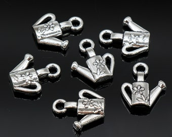 6 Pcs Watering Can Charms Gardening Tools Charms Pendants Antique Silver Tone 2 Sided 16x17mm - YD0127