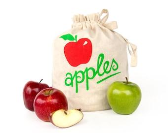 SALE!! APPLES: Handmade reusable eco friendly fruit storage bag. Hemp organic cotton tote. Handprinted. Kitchen organizer. Apple storage.