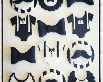 12 x Baby Shower 1 st Birthday Cupcake Toppers - black and white moustache suspenders bowtie little man