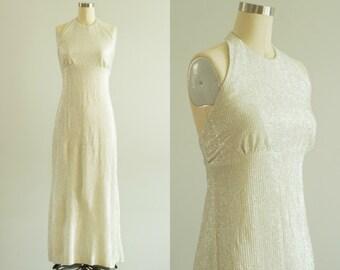 vintage 1970s dress / 70s silver halter gown / small / Crystal Vase Dress