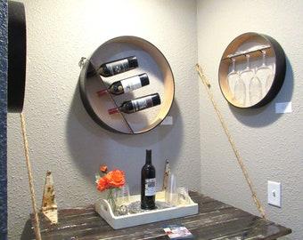 Wine Rack Set including (2) Glass Holders