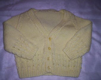 Hand Knitted Baby Cardigan - Yellow (for age 12 - 24  months)