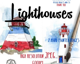 Lighthouses Digital Clipart JPEG | Lighthouse Ocean Nautical Printable | Hand Painted Watercolor | Personal & Commercial Use | JPEG Images