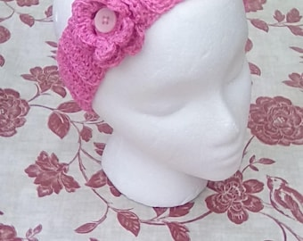 Pink crochet flower headband