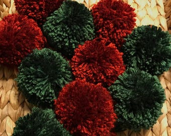 Rustic Christmas Pom Poms, Extra Large Set of 10 in Rustic Red and Sage Green