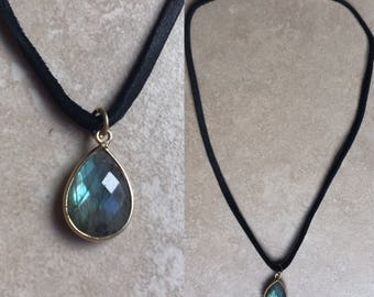 Labradorite Stone- Vegan Suede Choker/ necklace. Your everyday choker, made with a Sterling Silver or gold (vermeil) framed pendant