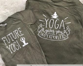 Yoga Makes Me Superpowerful | Mommy's Yoga Partner Namaste | Mommy and Me Yoga Tee Set | New Mom | Yogi | Yogi Baby