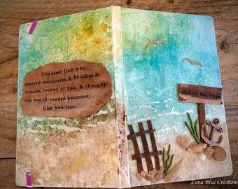 Mixed Media Journal, Personalized Journal, Ocean theme Journal, Polymer Clay Journal, Custom Journal, Personalized Notebook, Beach Journal