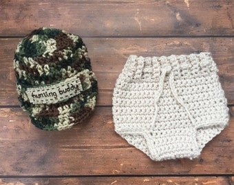 Newborn Camo Crochet Outfit, Infant Camo Clothes, Baby Boy Camo Hat and Diaper Cover Outfit Set, Newborn Baby Hunting Clothes, Camoflauge