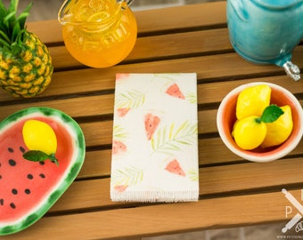 Miniature Tropical Watermelon Tea Towel - 1:12 Dollhouse Miniature