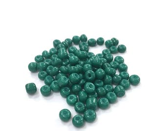 ♥ 10gr 4mm♥ Emerald glass seed beads