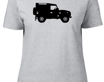 Landrover 90 Defender Profile NT. Car. Ladies semi-fitted t-shirt.
