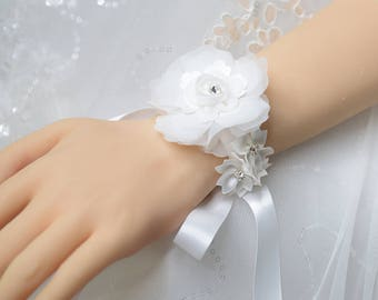 Wedding Wrist Corsage, Bridal Corsage, White Silk Flower Corsage with Rhinestones, Bridesmaid Wrist Corsage, Prom Flower Bracelet,  YQL011