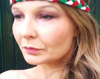 Green White Red Headband Flag Headband Italy Mexico Soccer Sport Team Headband Braided Flag Bracelet Headband World Cup Accessory