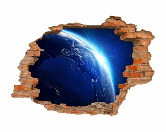 051 Wall Decals Earth space-hole in the walls