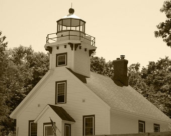 Mission Point Lighthouse #1 Black and White 11x14 Matte-READY TO SHIP