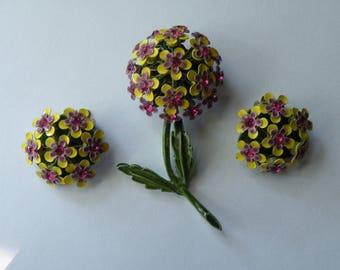 On Sale Enamel flower brooch pin, clip-on earrings. Set. Yellow, Purple, Green enamel, pink rhinestone.