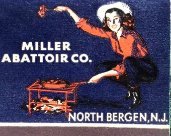 Vintage feature matchbook Miller Abattoir Company North Bergen New Jersey Lamb and Veal