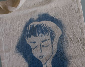 "Tote bag ""Faces"" in cyanotype"
