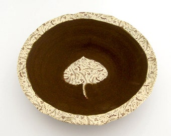 Decorative Bowl - Aspen Leaf - Dragonflies - Ceramic Bowl - Hand Thrown Stoneware Pottery