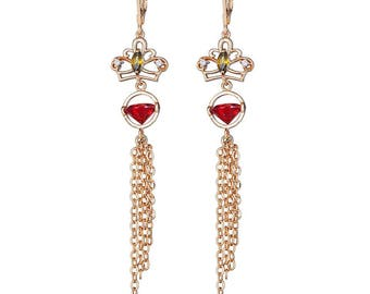 Queen's Royal Red Diamond Earring with Fancy Hanging Gold Filled Chains