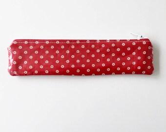 Small Pencil Case - Red Floral Pencil Case/ Slim Oilcloth Pencil Case/ PVC Coated Fabric Pencil Case