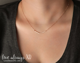 Chevron Necklace, hammered chevron, delicate chevron necklace, minimalist nec0klace, dainty chevron necklace, simple necklace