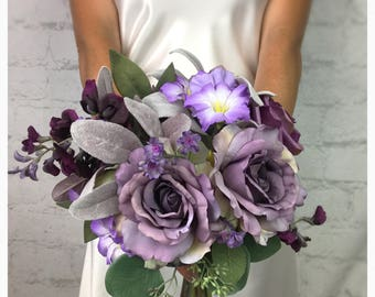 Wedding Bouquet, Plum Bouquet, Lavender Bouquet, Purple Bouquet, Rose Bouquet, Bridal Bouquet, Artificial Bouquet, Silk Bouquet
