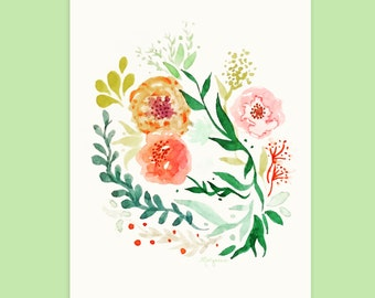Floral card - Watercolor illustration