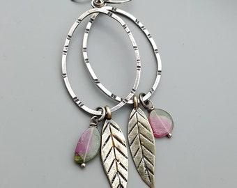 Pink Tourmaline Silver Gypsy Earrings, Long Swingy Dangle Charm Hoop Earrings, Hoops, Leaf Charms
