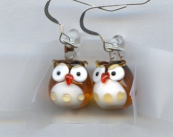Brown Glass Owl Sterling Silver Earrings