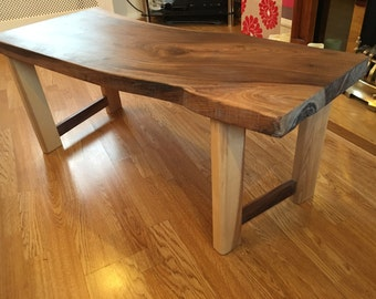 Wooden bench / coffee table . Walnut and ash