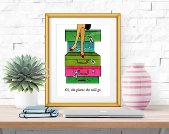 Oh The Places She Will Go -- Watercolor Print -- Home Decor -- Travel